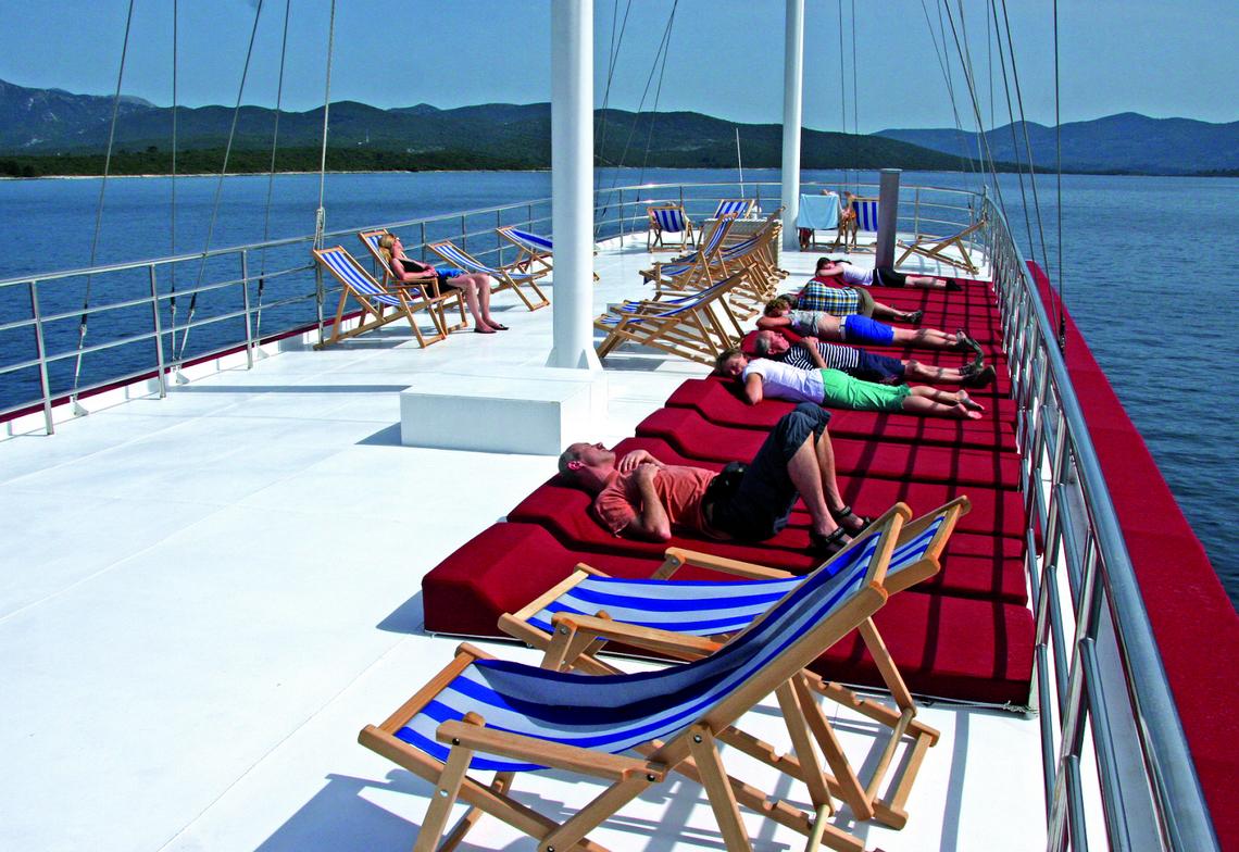 Sun deck aboard the Harmonia Comfort Plus Class Boat
