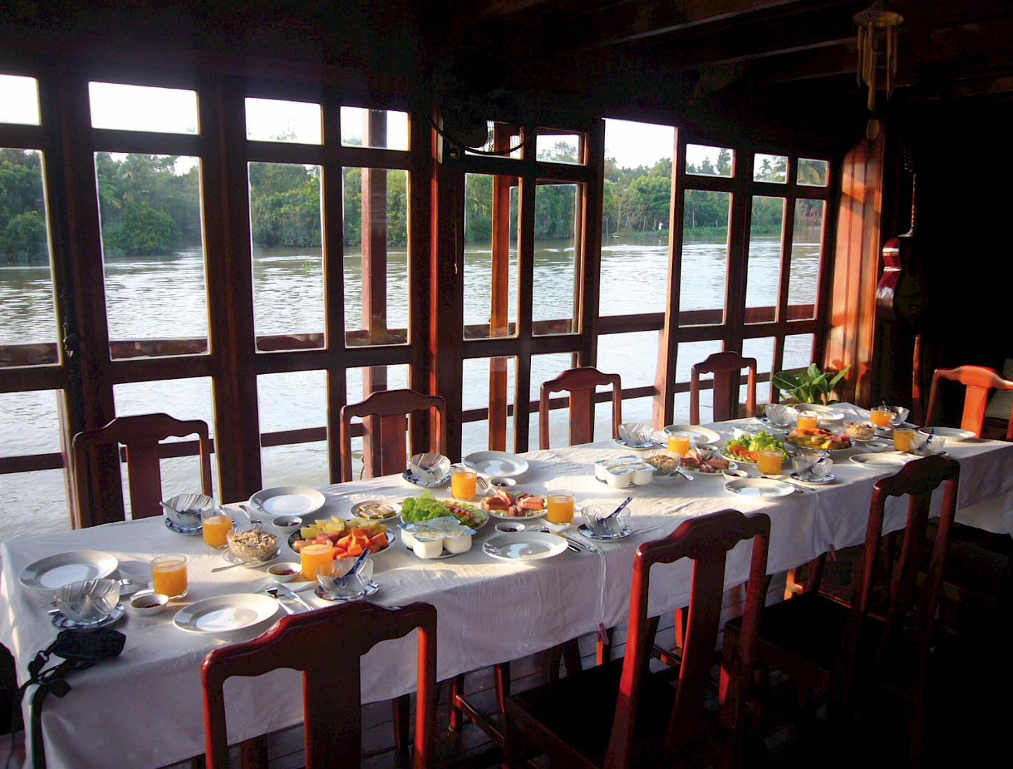 Breakfast about our Vietnamese Junks provide a beautiful view of the water.