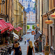 Bike break for shopping in Stockholm, Sweden. Photo via Flickr:Pedro Szekely