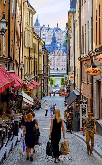 Bike break for shopping in Stockholm, Sweden. Flickr:Pedro Szekely