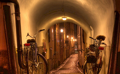 Bicycles resting in Old Town, Stockholm, Sweden. Flickr:Michael Caven