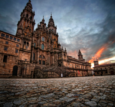 Santiago de Compostela Cathedral on the Square of Obradoiro in Spain. Photo via Flickr:Feans