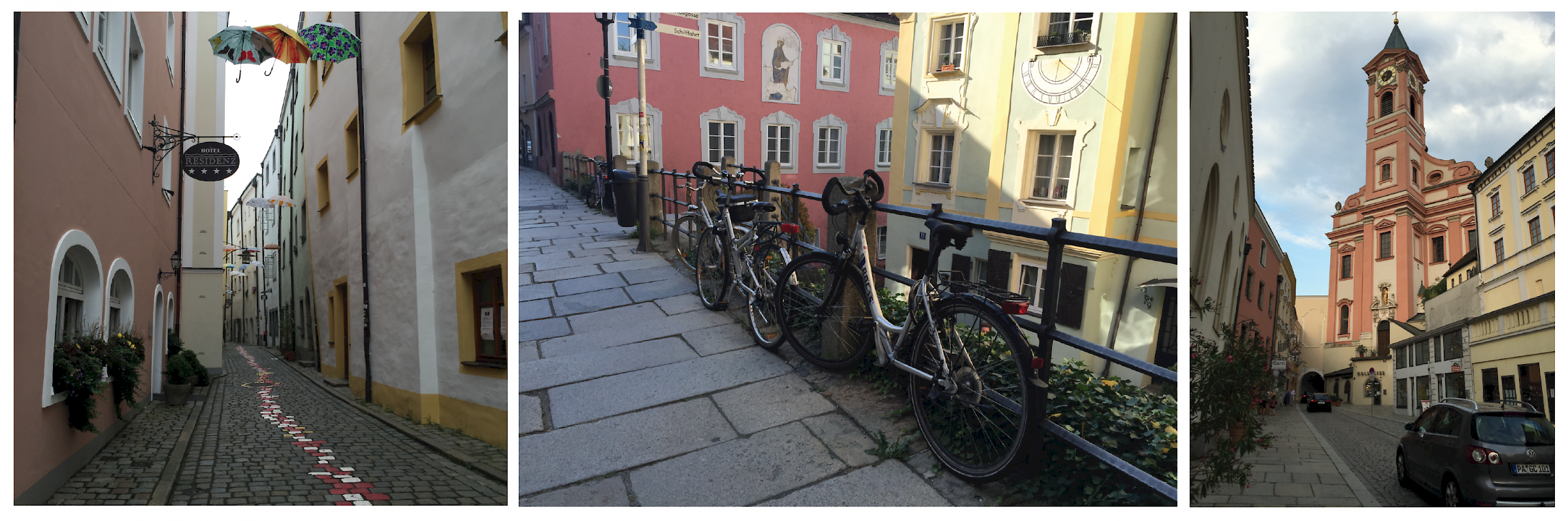 Cobbled streets and beautiful architecture in Passau.