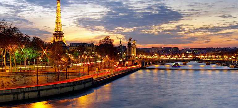Eiffel Tower, Seine River, Paris, France. Photo via Flickr:James Whitesmith