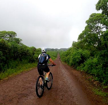 Biking on Floreana Island, Galapagos Islands, Ecuador. Photo via Galakiwi