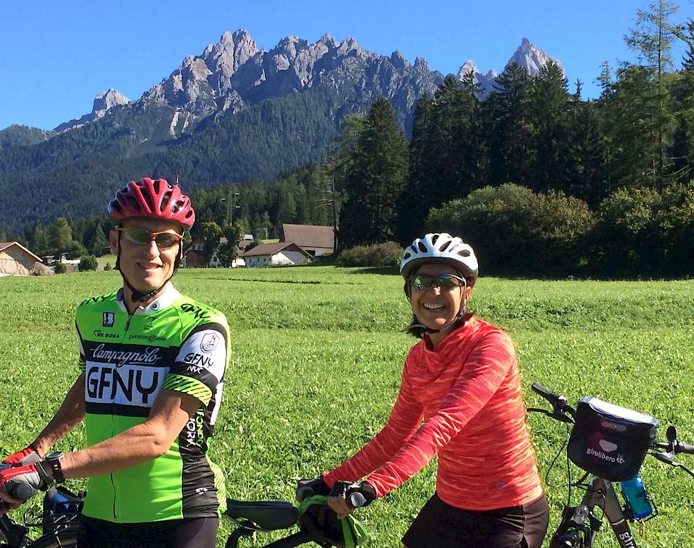 Posing for a picture with the majestic Dolomites in the background