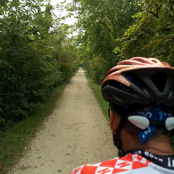 Riding along the cycle path