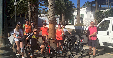 Group photo on the Lanzarote Canary Island Bike Tour in Spain. Photo by Mary