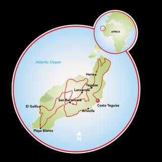 Lanzarote, a Canary Island Bike Tour Map