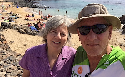 Mark and Mary relaxing on the Lanzarote Spain Canary Island Bike Tour.