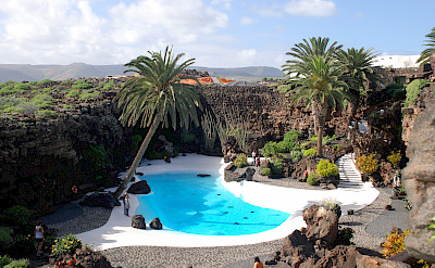Swimming pool at the Jardin de Cactus designed by Cesar Manique on Lanzarote, Canary Islands. Photo via Flickr:traveljunction