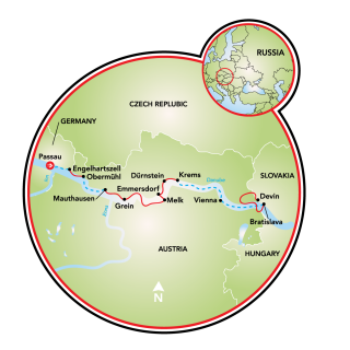 A través del Danubio - Passau, Bratislava, y Viena Map