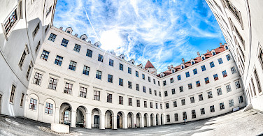 Courtyard of Bratislava Castle in Bratislava, Slovakia. Photo via Flickr:Kurt Bauschardt