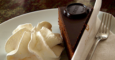Real Sacher Torta at the Hotel Sacher in Vienna, Austria. Photo via Flickr:Paul Barker Hemings