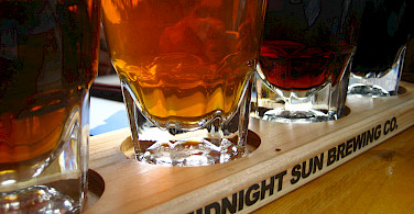 Midnight Sun Brewery Co. beer samplings in Denali, Alaska. Photo via Flickr:Jeremy Keith