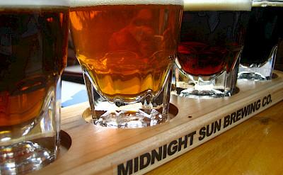 Midnight Sun Brewery Co. beer samplings in Denali, Alaska. Photo via Flickr:Jeremy Keith