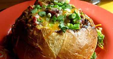 Sourdough bowl of chili to go with your bike-beer tour! Photo via Flickr:Jeremy Keith