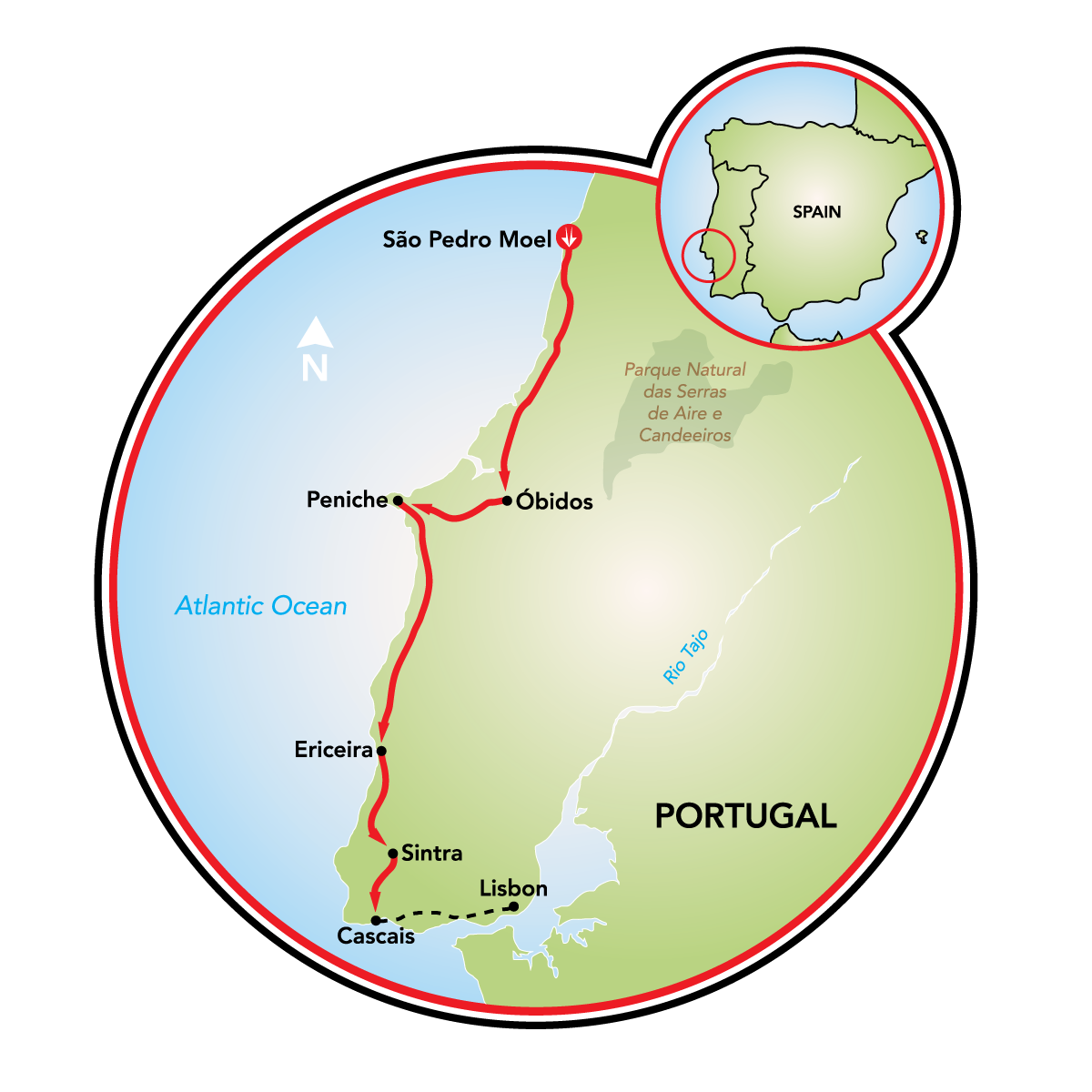 Atlantic West Coast Sintra Bike Tour Portugal Tripsite - Portugal map coast