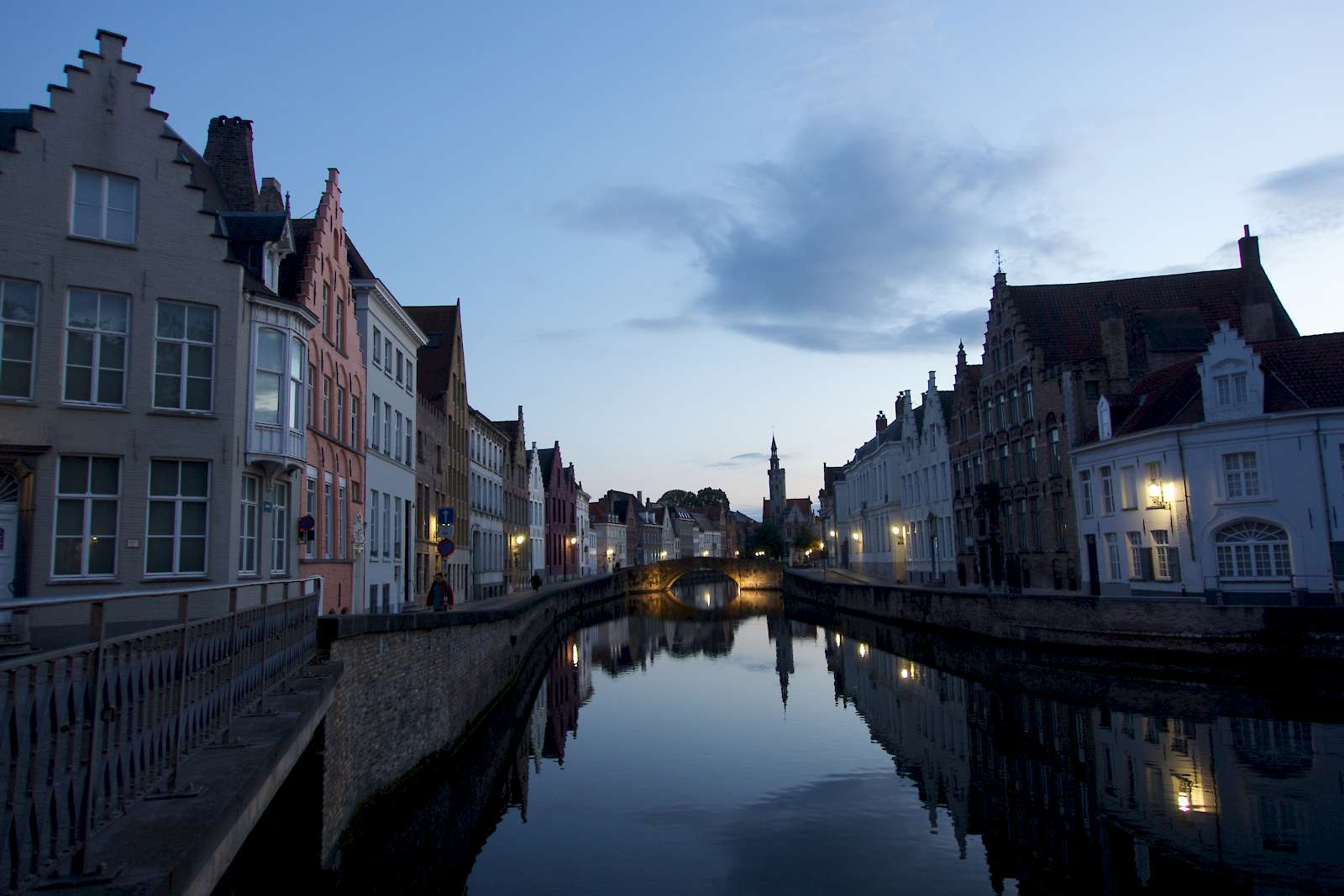 Bruges neighborhood in the evening
