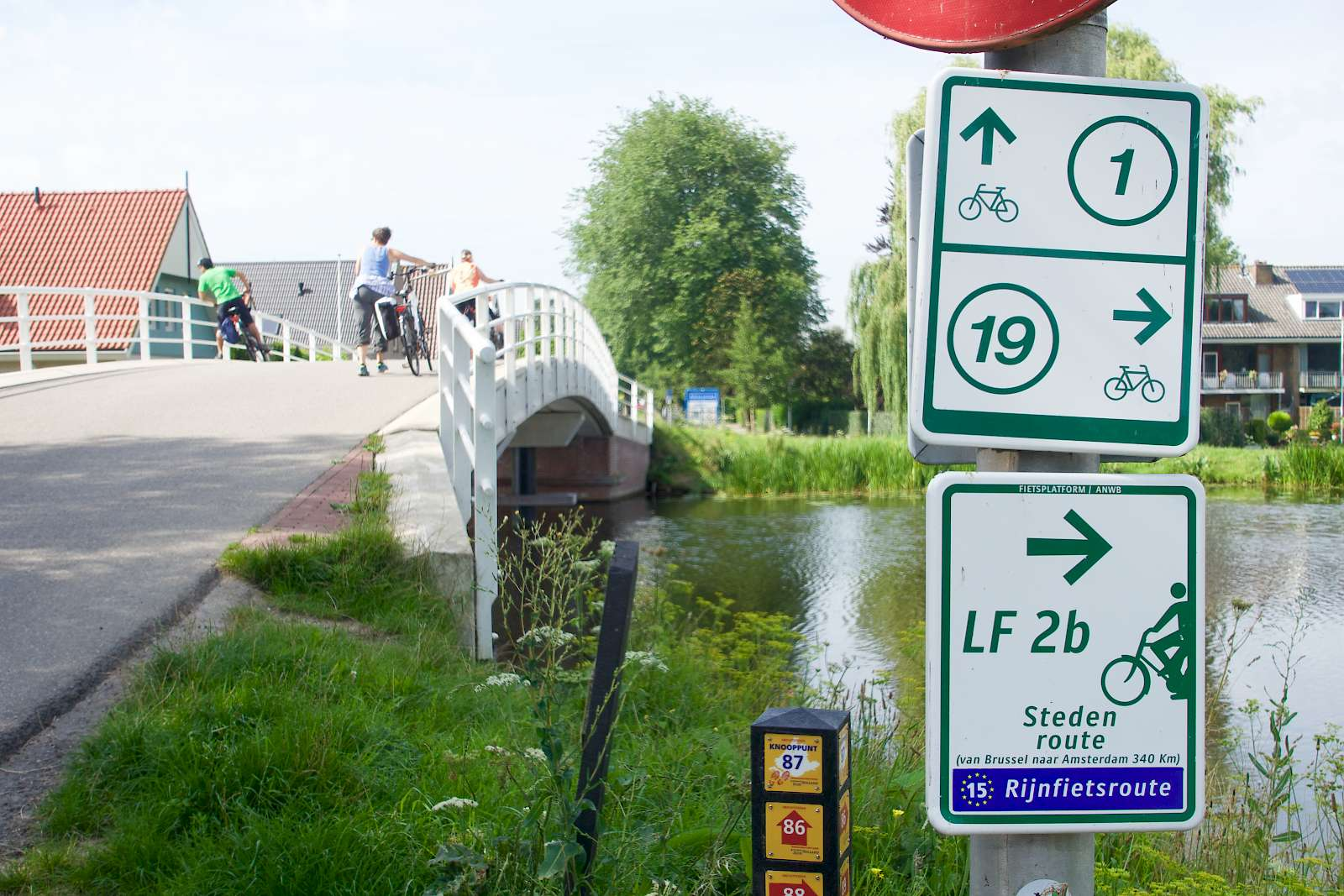Wayfinding signs along the bike paths in Holland