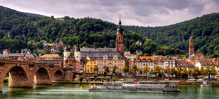 Heidelberg in the Rhine Rift Valley with the Neckar River, Germany. Photo via Flickr:alex hanoko