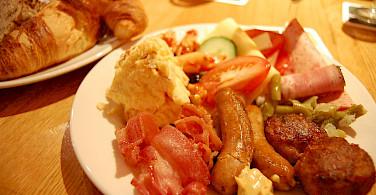 A meaty cyclist's lunch in Mainz, Germany. Photo via Flickr:Yusuke Kawasaki