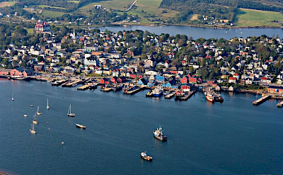 Aerial of Lunenburg on Mahone Bay, Nova Scotia, Canada. Photo via Wikimedia Commons:Jvienneau