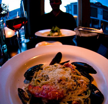 Seafood dinner for 2 in Wolfville, Nova Scotia, Canada. Photo via Flickr:Brian Uhreen