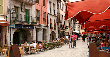 Cafes in Ribadesella on the Cantabrian Sea, Asturias, Spain. Photo via Flickr:caccamo