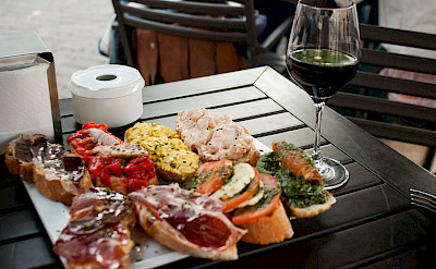 Tapas and wine in Spain, of course! Flickr:Salome Chaussure