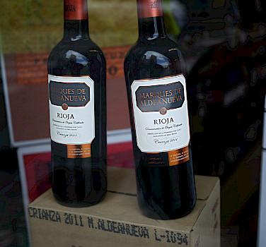Local, delicious Marques de Aldeanueva wine, La Rioja, Spain. Photo via Flickr:Nacho