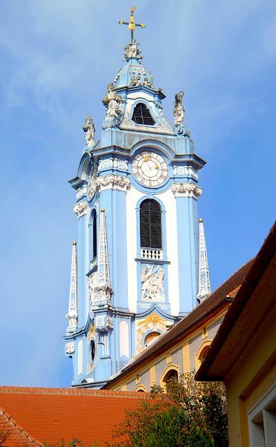 Dürnstein Abbey was rebuilt in 1710. Wachau Valley region of Austria. Photo via Flickr:pfatter