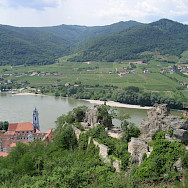 View from the Castle in Durnstein overlooking the Wachau Valley with its vineyards. Photo via Flickr:Muppetspanker