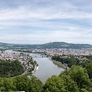 The Danube through Linz, Austria. Photo via Wikimedia Commons:Thomas Ledl