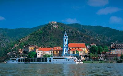 MS Primadonna on the Danube in Dürnstein, part of the Wachau Valley & Krems-Land district of Lower Austria. ©TO