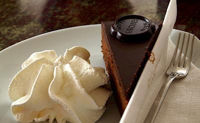 The famous Sacher-Torte cake at Hotel Sacher in Vienna, Austria. Flickr:Paul Barker Hemings