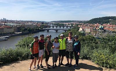 TripSite's Hennis with friends cycling in Prague, Czech Republic.