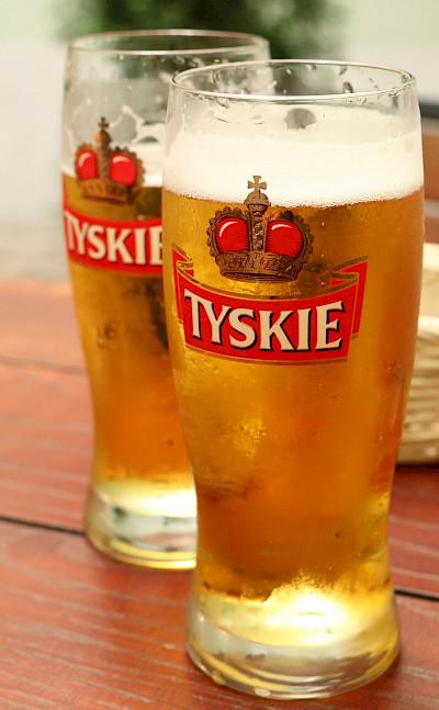 Tyskie, a Polish beer in Kraków Poland. Flickr:ryan hurril