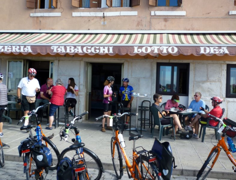 Cafe stop on bike tour