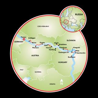 Along the Danube - Passau - Vienna - Budapest aboard the Primadonna Map