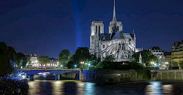 Notre Dame Cathedral at night in Paris, France. Photo via Flickr:Henry Marion