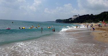 Surfing is popular at the beach in Jungmun, Jeju Island, South Korea. Photo via Flickr:Mandy