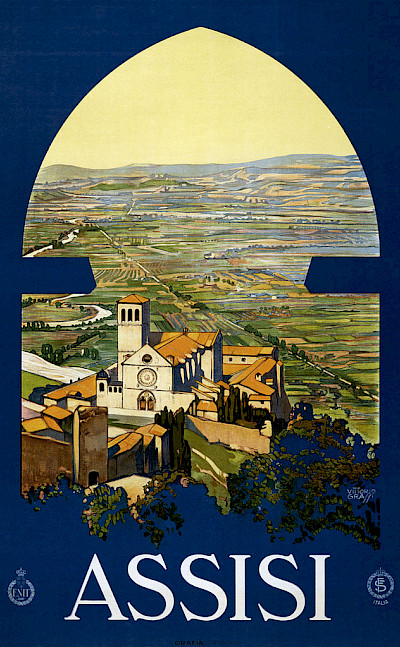Travel poster from 1920 of Assisi. Umbria, Italy.