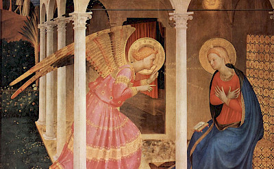 <i>Annunciation</i> by Fra Angelico, great example of Etruscan Art in Tuscany, Italy.