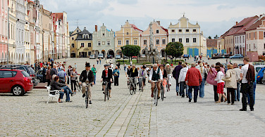 Riding bikes in Telc, Moravia, Czech Republic. Photo via Flickr:Rafael Robles
