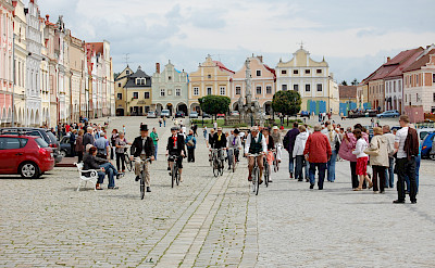 Riding bikes in Telc, Moravia, Czech Republic. Flickr:Rafael Robles