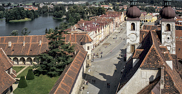 View from St. James Church Tower in Telc, Czech Republic. Photo via Wikimedia Commons:Michal Lewi