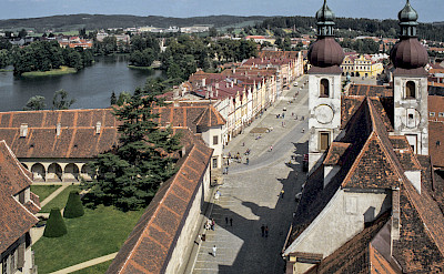View from St. James Church Tower in Telc, Czech Republic. CC:Michal Lewi