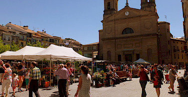 Shopping in Estella along the Camino de Santiago, Spain. Photo via Flickr:Instant2010