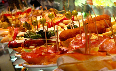 Delicious tapas in Spain, of course! Wikimedia Commons:Elemaki